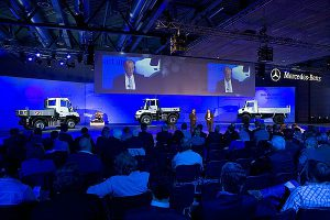 Pressevorstellung der neuen Unimog-Baureihen mit Abgasnorm Euro IV im April 2013-Kundencenter Wörth.