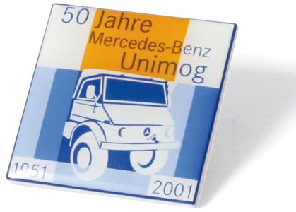 """Pin """"50 Jahre Mercedes-Benz Unimog"""" 2001"""