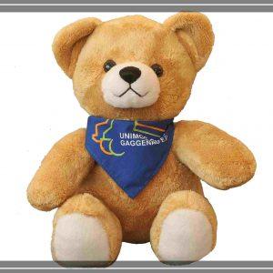 Teddybär gold mit UCG-Schal