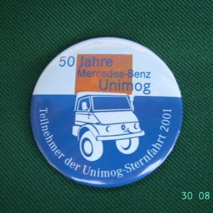 """Button """"50-Jahre Mercedes-Benz Unimog"""" 2001"""