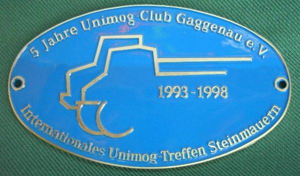 """Plakette """"5-Jahre UCG"""" Steinmauern blau"""