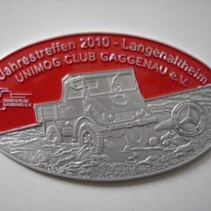 """Plakette """"Jahrestreffen Langenaltheim"""" silber-rot"""